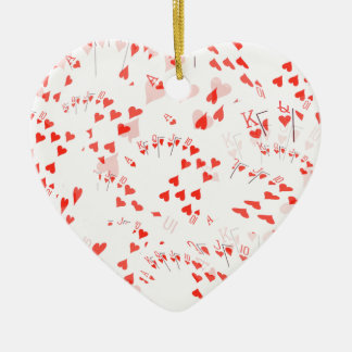 Poker Cards Hearts Straight Flush Pattern, Ceramic Ornament