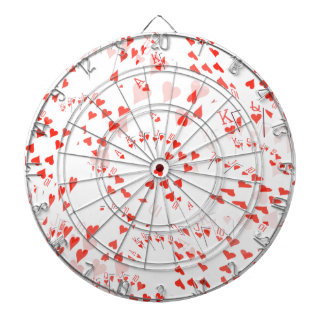 Poker Cards Hearts Straight Flush Pattern, Dartboard