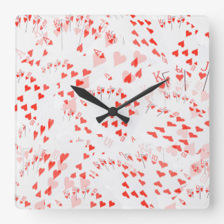 Poker Cards, Hearts Straight Flush Pattern, Square Wall Clock