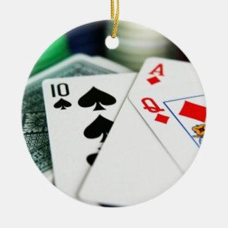 Poker Cards Round Ceramic Ornament