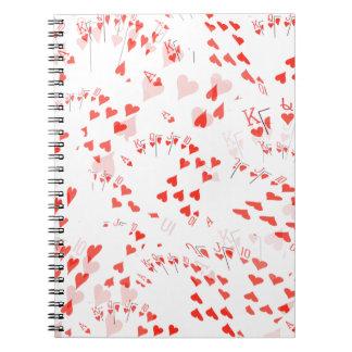 Poker Cards Royal Hearts Flush Pattern, Notebooks