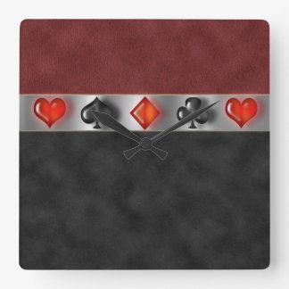 Poker Cards Suite Games Digital Black Red Suede Square Wall Clock