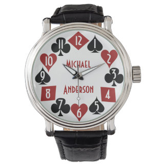 Poker Casino Gambler Card Suits Custom Name Watch