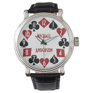 Poker Casino Gambler Card Suits Custom Name Watches