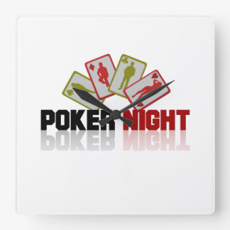 Poker Casino Square Wall Clock