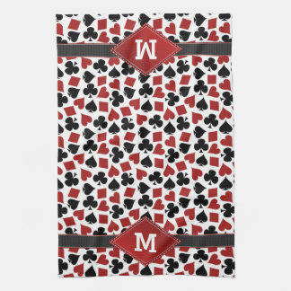 Poker Casino Suit Pattern Monogram Kitchen Towel