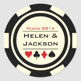 Poker Chip Black and White Round Sticker