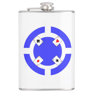 Poker Chip - Blue Hip Flask