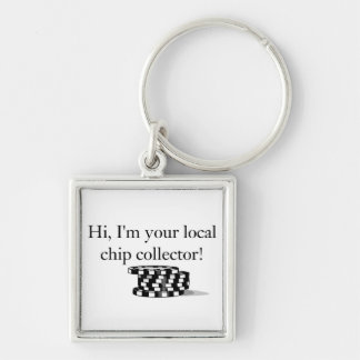 Poker chip collector Key chains. Silver-Colored Square Keychain