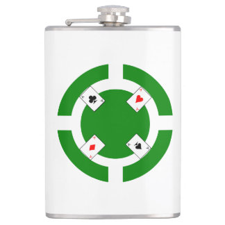 Poker Chip - Green Hip Flask
