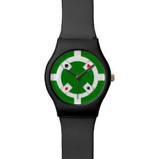 Poker Chip - Green Wristwatch