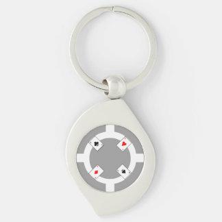 Poker Chip - Grey Silver-Colored Swirl Keychain