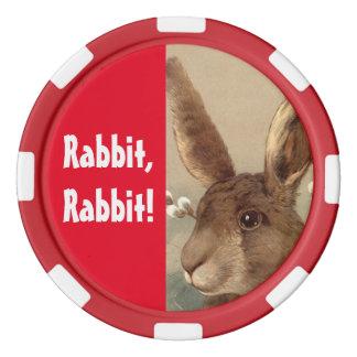 Poker Chip Lucky Saying Rabbit Rabbit! Flip Chip Poker Chip Set