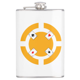 Poker Chip - Orange Hip Flask