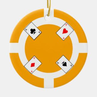 Poker Chip - Orange Round Ceramic Ornament