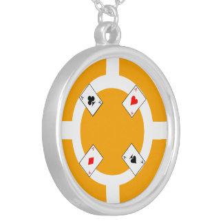 Poker Chip - Orange Silver Plated Necklace