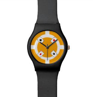 Poker Chip - Orange Wrist Watches