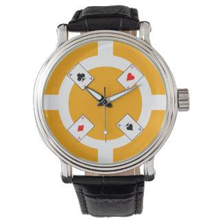 Poker Chip - Orange Wristwatches