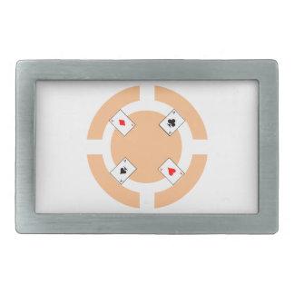 Poker Chip - Peach Rectangular Belt Buckle