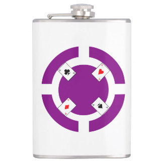 Poker Chip - Purple Hip Flask