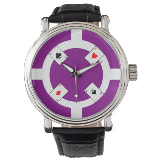 Poker Chip - Purple Wrist Watch