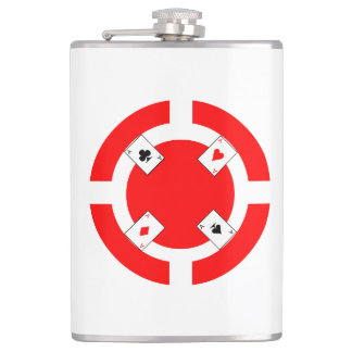 Poker Chip - Red Hip Flask