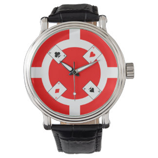 Poker Chip - Red Wristwatches