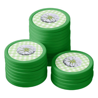 Poker Chip Set - White Zinnia on Lattice