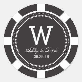 Poker Chip Wedding Stickers - Black