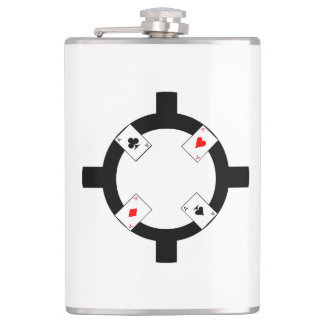 Poker Chip - White Hip Flask