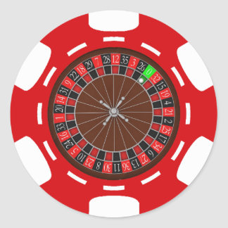 POKER CHIP WITH ROULETTE WHEEL CLASSIC ROUND STICKER