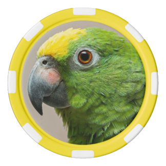Poker chip Yellow headed Amazon green parrot Poker Chips Set