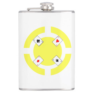 Poker Chip - Yellow Hip Flask