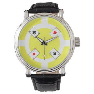Poker Chip - Yellow Wristwatch