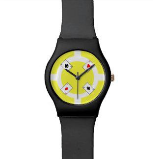 Poker Chip - Yellow Wristwatches