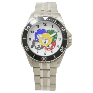 Poker Chips and Ace Playing Card Las Vegas Gambler Wrist Watches