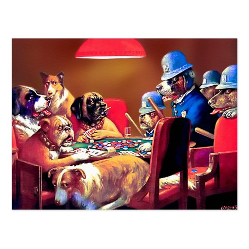 Poker Dogs: Pinched with Four Aces Postcards