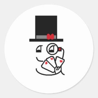 Poker Face Classic Round Sticker