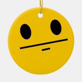 Poker Face Smiley face Round Ceramic Ornament