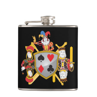 Poker Family Crest Hip Flask