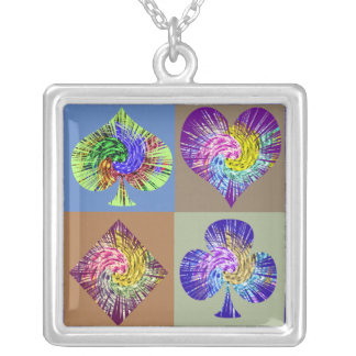 POKER Fans Silver Plated Necklace