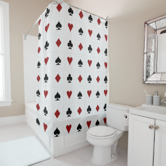 Poker Gambling Card Suit Shower Curtain