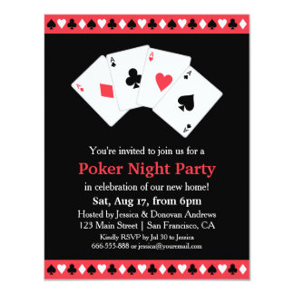 Poker Game Night Housewarming Party Card