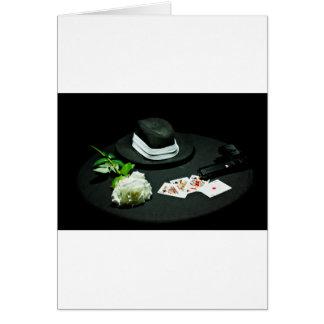 Poker gangster gun rose greeting card
