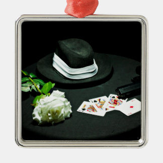 Poker gangster gun rose Silver-Colored square ornament