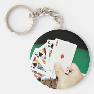 Poker good hand basic round button keychain