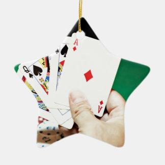 Poker good hand ceramic star ornament
