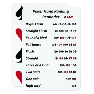 Poker Hand Ranking Reminder Card