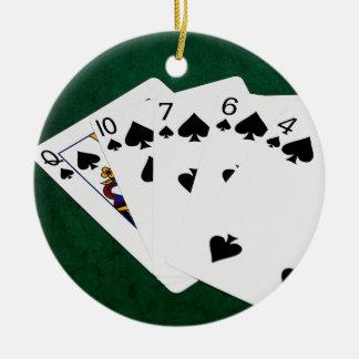 Poker Hands - Flush - Spades Suit Round Ceramic Ornament