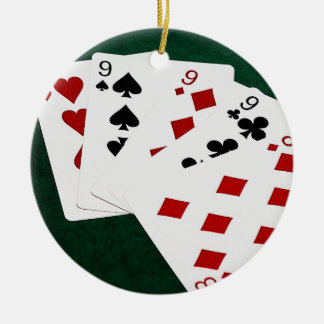 Poker Hands - Four Of A Kind - Nines and Eight Ceramic Ornament